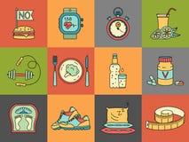 Gewichtsverlies, geplaatste Dieetpictogrammen Geschiktheid en gezondheidsinzameling Stock Fotografie