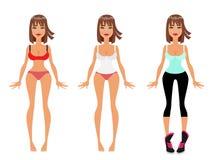 Gewichtsverlust, Diät und Eignung kleiden oben vorbildliches Girl, flache Vektor-Illustration Lizenzfreie Stockbilder