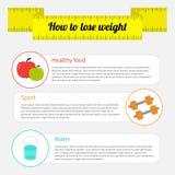 Gewichtsverlust infographic Gesundes Lebensmittel, Sport fitne Lizenzfreie Stockfotos