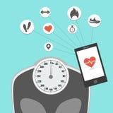 Gewichtsverlusteignung, die Gerät aufspürt lizenzfreie stockfotos