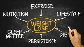 Gewichtsverlustflussdiagramm-Handzeichnung auf Tafel Stockfotografie