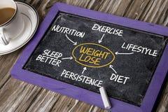 Gewichtsverlustflussdiagramm-Handzeichnung auf Tafel Lizenzfreie Stockfotos