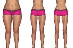 Gewichtverlust Frauentorso mit dem Maß, getrennt auf Weiß Lizenzfreie Stockfotos