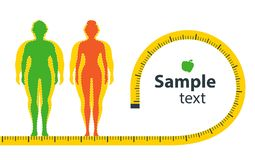 Gewichtverlust Frauentorso mit dem Maß, getrennt auf Weiß stock abbildung