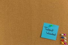 Gewild talent, Bedrijfsconcept Kleverig nota's en woordentalent W stock foto