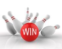 Gewinn-Bowlingspiel stellt zehn Wiedergabe Pin And Activitys 3d dar Lizenzfreies Stockfoto
