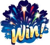 Gewinn! Feuerwerkfeier-Ikonenauslegung des Spaßes grafische Stockfoto