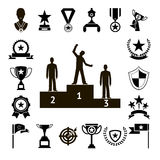 Gewinn-Preis-Symbole und Trophäen-Schattenbild-Ikonen eingestellte lokalisierte Vektor-Illustration Lizenzfreies Stockbild