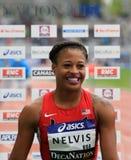 Gewinn Sharika Nelvis 100 m Hürdenrennen auf DecaNation Stockfotografie