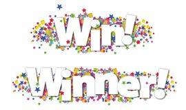 Gewinn-Sieger-Fahnen-bunte Stern-Konfettis lizenzfreie abbildung
