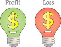 Gewinn- und Verlustindikatorbirnen Stockbild