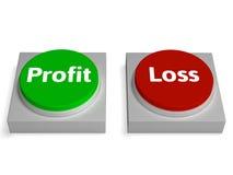 Gewinn-Verlust-Knopf-Show-Einkommen oder Defizit Stockfotografie
