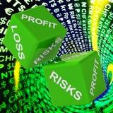 Gewinn, Verlust, Risiko-Würfel-Hintergrund zeigt riskante Investitionen Stockfoto