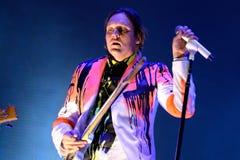Gewinnen Sie Butler, Mann an der Spitze von Arcade Fire (indie Rockband) durchführt an Ton-Festival 2014 Heinekens Primavera Lizenzfreie Stockfotos