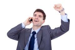Gewinnen am Telefon lizenzfreie stockfotografie