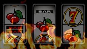 Gewinnende Animation des Spielautomaten gegen einen brennenden Hintergrund stock abbildung