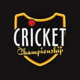 Gewinnendes Schild mit Ball für Kricket-Meisterschaft Lizenzfreies Stockfoto