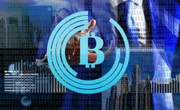 Gewinnendes Schlüsselwährung bitcoin Lösen Sie Block erzielen Gewinn Blockchain-Technologie Bergbau Bitcoin Zukünftiges digitales vektor abbildung