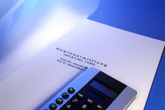 Gewinnermittlung Einkommensteuer. Profits: income tax, tax consultant (german language), with calculator Stock Photography