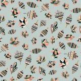 Gewist etnisch gevoerd kleurrijk van het achtergrond bladeren abstract vector naadloos behang patroonontwerp Geometrische bladere royalty-vrije stock afbeelding