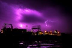 Gewitter über Wilhelmshaven Stockfotos
