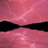 Gewitter auf dem Fluss Stockbild