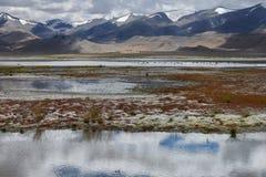 Gewitter auf dem hoher Gebirgssee: düstere schwere Wolken steigen zu den Oberteilen der Hügel ab und werden in Wasseroberfläche,  Stockfotografie