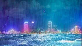 Gewitter mit Regen und Blitz in der Nachtstadt Lizenzfreies Stockfoto