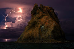 Gewitter und Blitz auf dem Schwarzen Meer, Krim Lizenzfreies Stockfoto