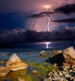 Gewitter und Blitz auf dem Schwarzen Meer, Krim Lizenzfreies Stockbild