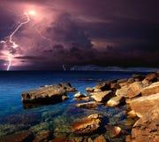 Gewitter und Blitz auf dem Schwarzen Meer, Krim Stockfoto