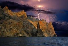 Gewitter und Blitz auf dem Schwarzen Meer, Krim Lizenzfreie Stockfotos