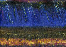 Gewitter und Regen über der blühenden Wiese lizenzfreie abbildung