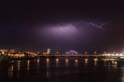 Gewitter vorbei über Badajoz Stockbild