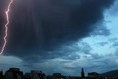 Gewitterlichter Heller Blitzgewitterschein von der Wolke Gefährlicher elektrischer Blitz Levin oder Szintillation Lizenzfreies Stockfoto