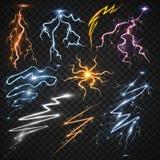 Gewittermagie des Lichtes 3d des Blitzbolzen-Sturmstreiks vector realistische und helle Lichteffekte Illustration vektor abbildung
