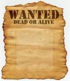 Gewünschte Tote oder lebendig Stockfotos