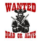 Gewünschtes totes oder lebendiges Plakat mit bewaffnetem Cowboy Stockbild