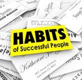 Gewohnheiten von erfolgreichen Leute-Visitenkarten Lizenzfreies Stockfoto
