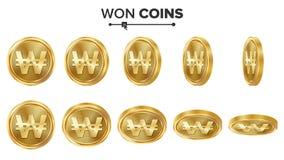 Gewonnener 3D Goldmünze-Vektor-Satz Realistische Abbildung Flip Different Angles Geld Front Side Getrennte Wiedergabe 3d Lizenzfreies Stockfoto