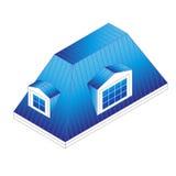 Geworpen mansard dak met koekoeken geworpen dak met isometrische vensters stock illustratie