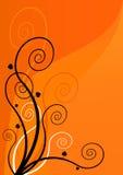 Gewundene Blumen auf orange Hintergrund. Vektorkunst Stockbilder