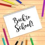 Gewundene e-gehend Notizblöcke und Stift Horizontale Schablone oder Spott des Vektors oben Zurück zu Schulebeschreibung Lizenzfreie Stockfotografie