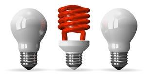 Gewundene Glühlampe des Rotes und Wolfram mit zwei Weiß eine lizenzfreie abbildung