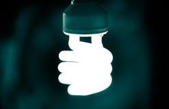 Gewundene Lampe, die in Dunkelheit glüht Lizenzfreies Stockfoto