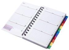 Gewundene Tagesordnung mit Farbvorsprüngen Lizenzfreies Stockbild