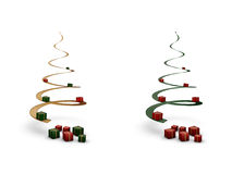Gewundene Weihnachtsbäume mit giftboxes Stockbild