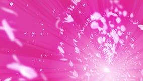 Gewundener glänzender Partikel der Kirschblüte Sakura Pattern Japanisches Kirschtanzen Turbulenz vom rosa Blumenblatt Abstrakte S stock video