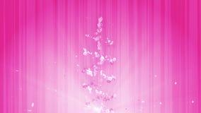 Gewundener glänzender Partikel der Kirschblüte Sakura Pattern Japanisches Kirschtanzen Turbulenz vom rosa Blumenblatt Abstrakte S stock footage