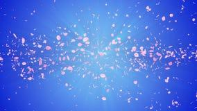 Gewundener glänzender Partikel der Kirschblüte Sakura Pattern Japanisches Kirschtanzen Turbulenz vom rosa Blumenblatt Abstrakte S stock video footage